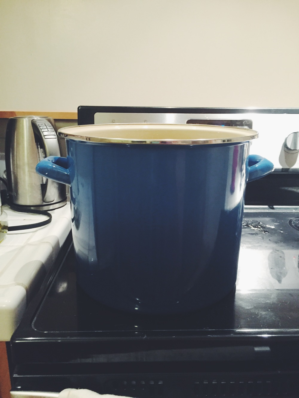 This is my very large and very favorite stockpot! It was a wedding gift from an important friend of ours. It can hold so much soup, pasta sauce, and chili! You can find this Le Creuset Stockpot  here.