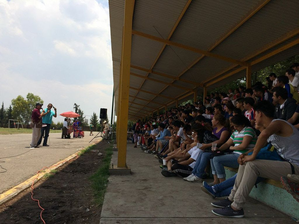 Preaching to a large crowd in Mexico.