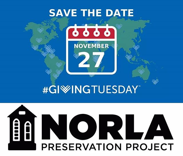 Save the date:  #GivingTuesday 2018 is November 27th.  We're proud to be a part of the global celebration of giving.  Consider making a donation and spreading the word about #NorlaPreservationProject.  Your donation will help offset the cost of history tours, Love Your Louisiana Sessions, our annual symposium and much more.  Your help makes a huge impact.  Donate by visiting www.norlapreservationproject.com