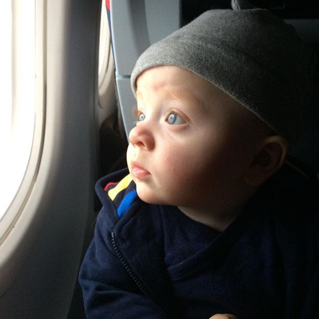 Max's first flight #flyingbaby #stthomas #longdistancestare