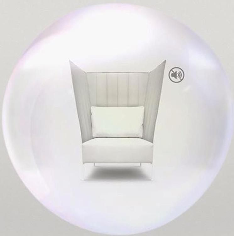 illustration av ljudbubblan, fåtöljen är designad av Dan Ihreborn