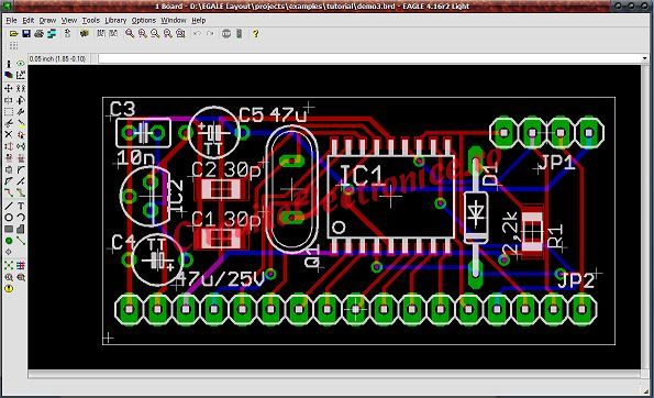 Eagle PCB layout view