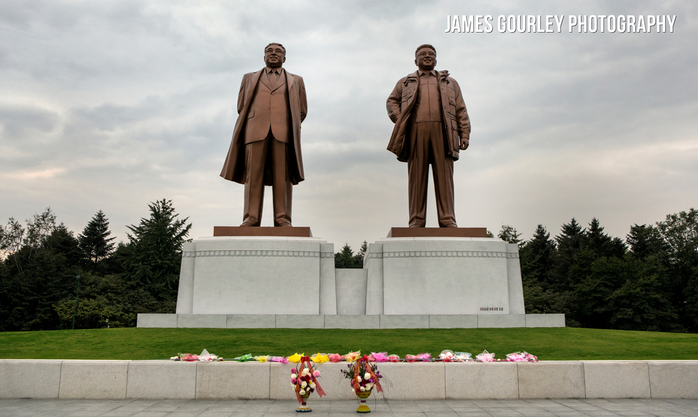 A newly completed set of statues of Kim Il-Sung and Kim Jong-Il in Chongjin. They were unveiled on September 9th to mark the DPRK Foundation Day