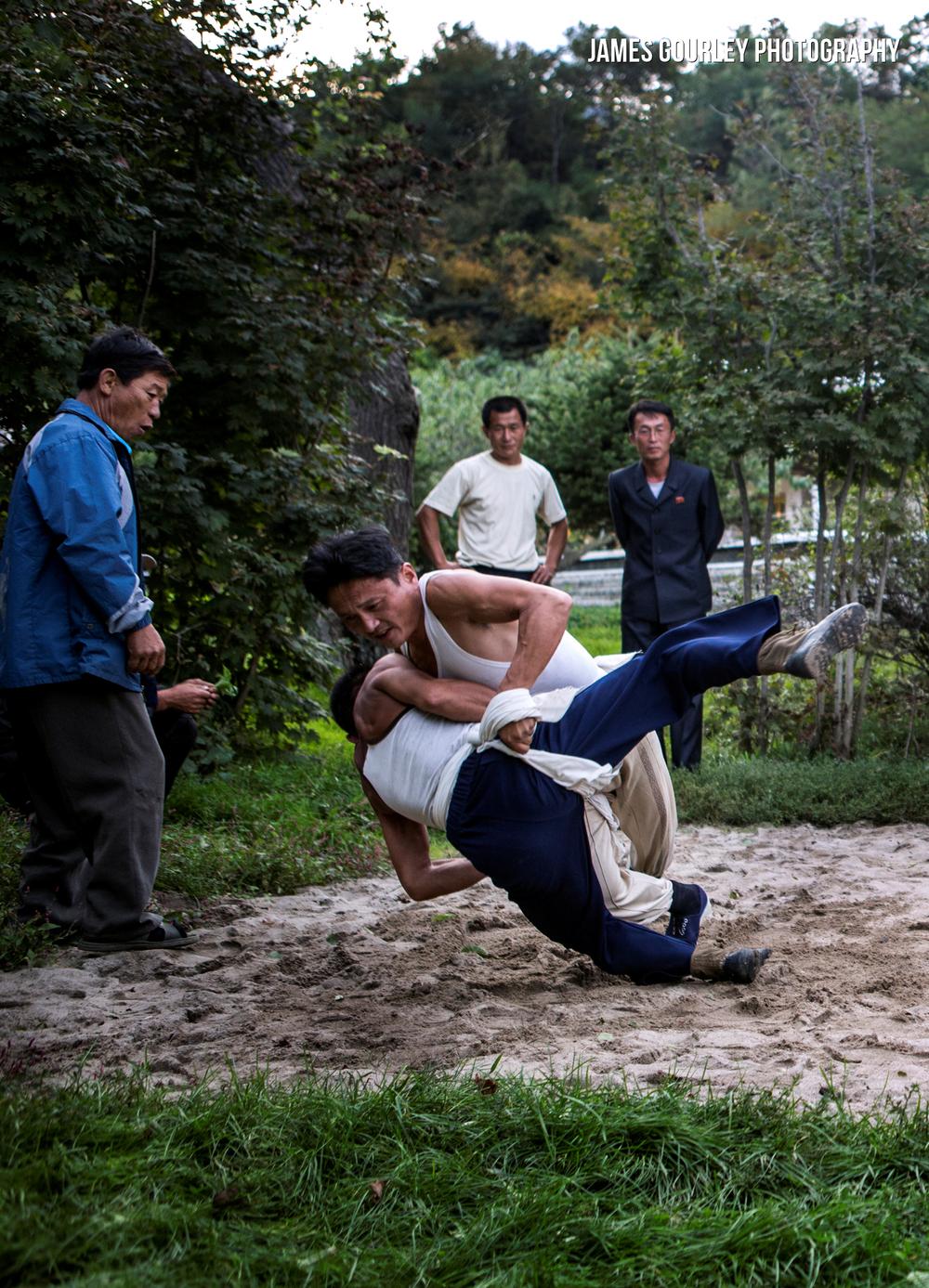 Traditional Korean wrestling between men of a village in Sea Chilbo