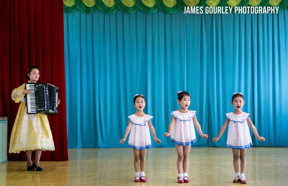 School children perform at a Chongjin Kindergarten