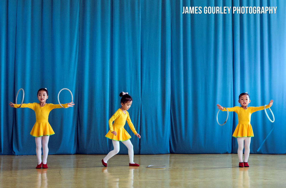 A young girl drops her rings during a synchronised performance