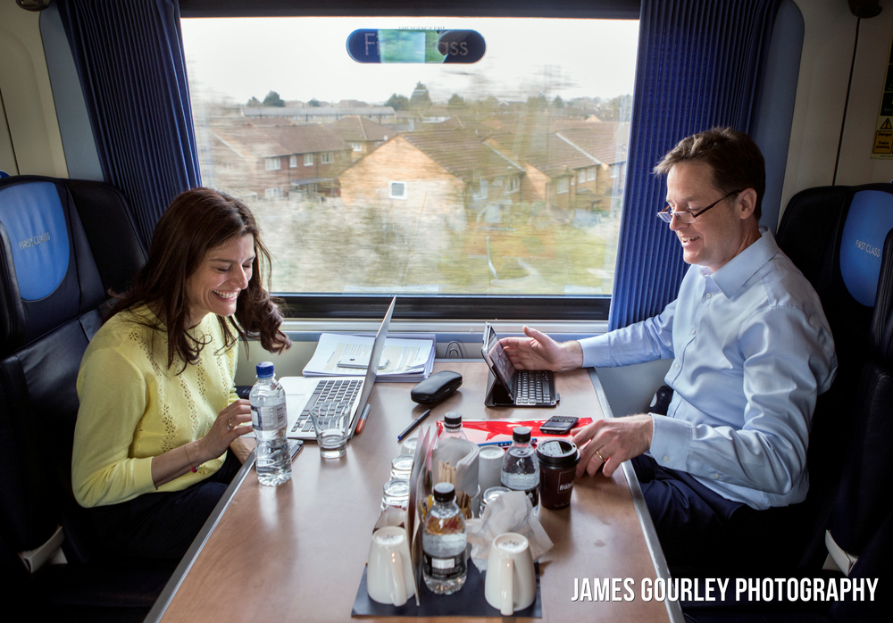 The Deputy Prime Minister and Leader of the Liberal Democrats Nick Clegg today (24/04) travelling to his Sheffield Hallam constituency by train with his Wife, Miriam Gonzalez Durantez.