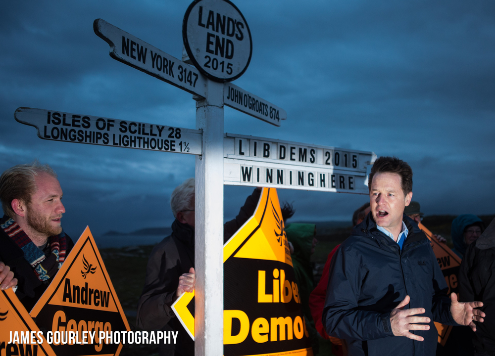 The Deputy Prime Minister and Leader of the Liberal Democrats Nick Clegg hosting a campaign rally at Lands End to mark the start of his campaigns journey to John O'Groats