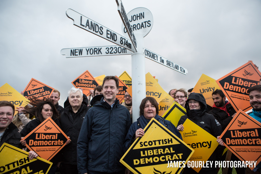 The Deputy Prime Minister and Leader of the Liberal Democrats Nick Clegg arrived at a windy John O'Groats at 9pm on May 6th after traveling from Lands End in two days by coach, to finish his General Election campaign.