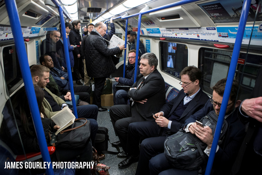 06/03/2015 Liverpool, UK. Nick Clegg pictured taking a Piccadilly Line tube train to avoid central London traffic.  Photo by James Gourley/Liberal Democrats