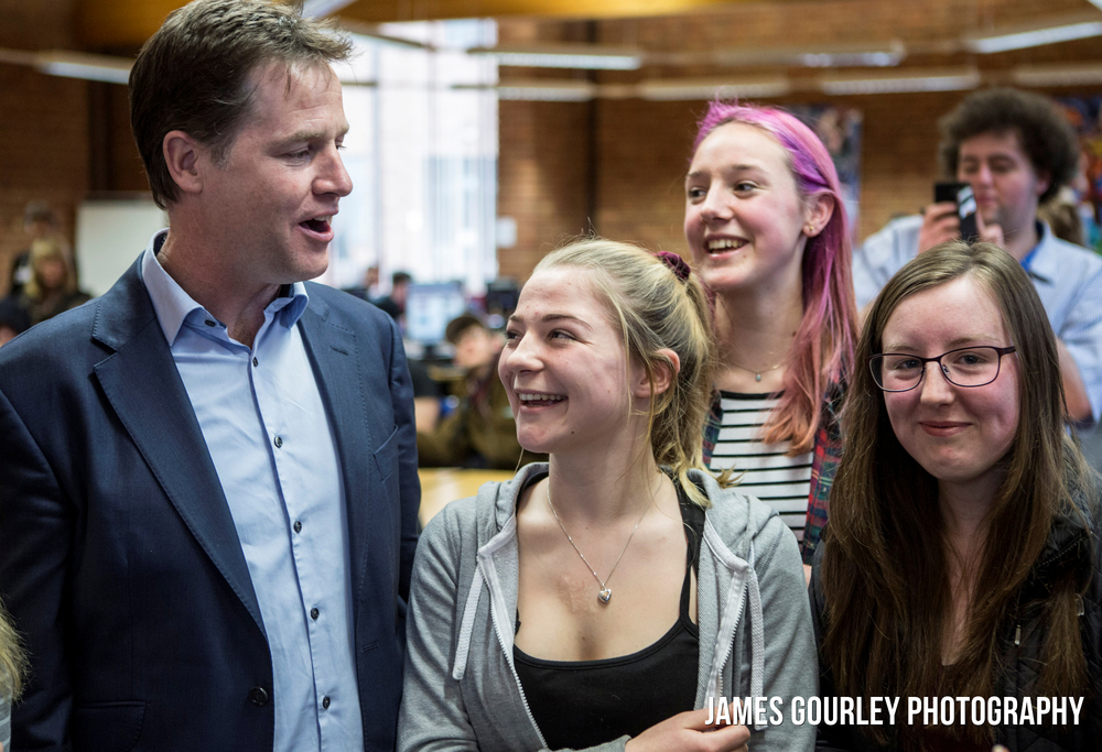 16/03/2015 Street, UK. Nick Clegg visited Strode College with MP Tessa Munt. Strode College is the only school in Somerset to gain an Outstanding report from OFSTED since 2010. Photo by James Gourley/Liberal Democrats