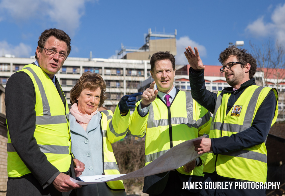 31/03/2015. Watfordl, UK. Deputy Prime Minister and leader of the Liberal Democrats Nick Clegg and Watford PPC Dorothy Thornhill visit the site of the future £300m Watford Health Campus. Earlier Nick Clegg announced that the Lib Dems would invest £3.5bn in Mental Health Services. Photo by James Gourley/Liberal Democrats