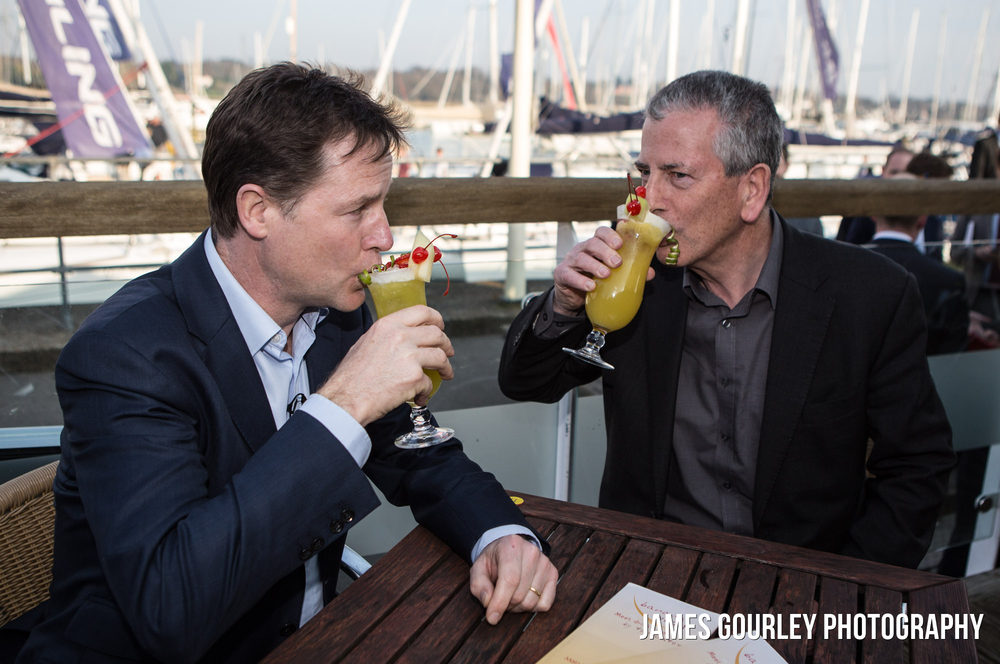 09/04/2015. Eastleigh, UK. The Deputy Prime Minister and Leader of the Liberal Democrats Nick Clegg with Mike Thornton at the Port Hamble Marina in Eastleigh to meet with apprentices . Photo by James Gourley/Liberal Democrats