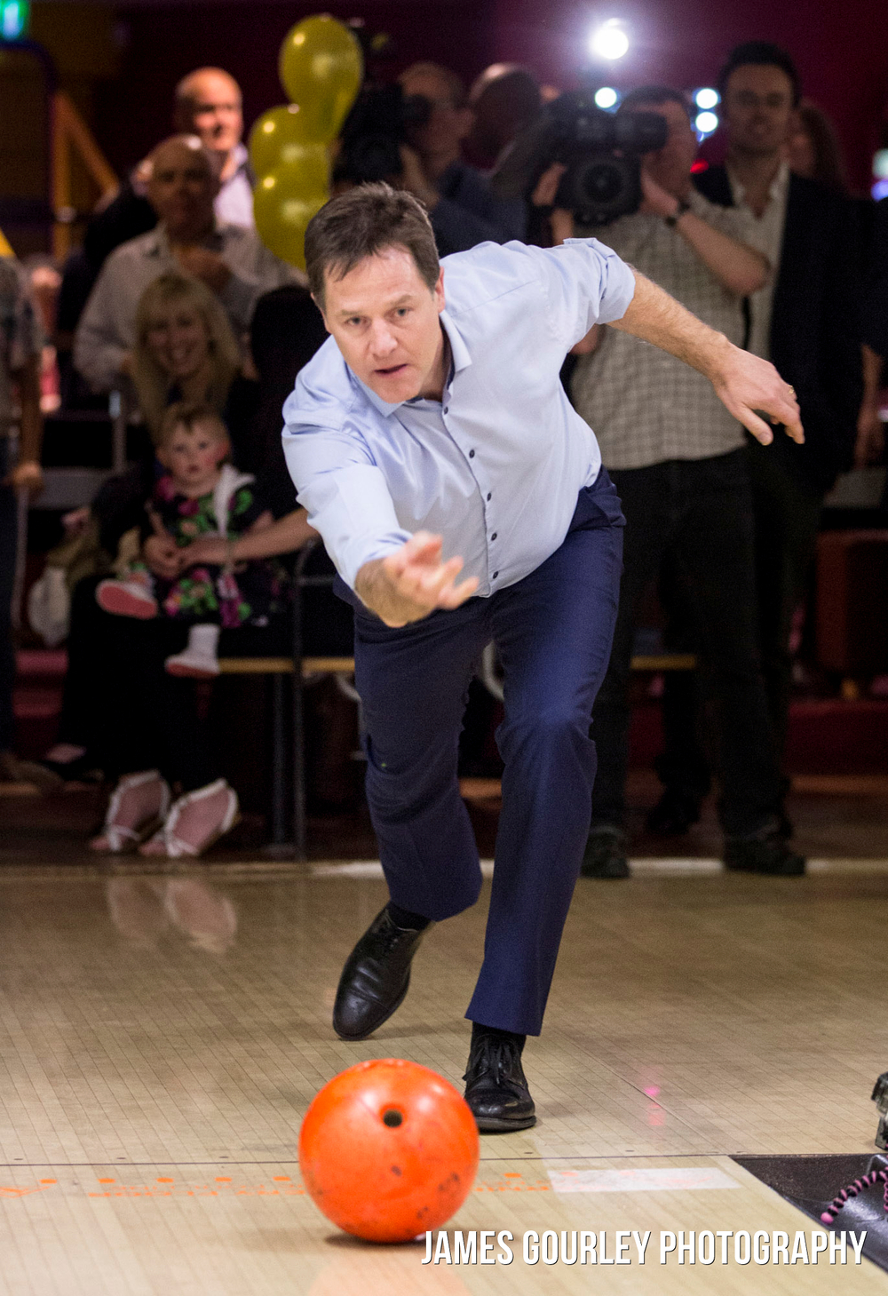The Deputy Prime Minister and Leader of the Liberal Democrats Nick Clegg in Colchester, ten pin bowling with patients of the Veterans First Charity
