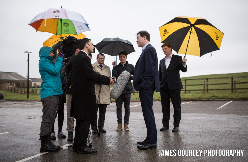 03/04/2015. Hyde, UK Deputy Prime Minister and leader of the Liberal Democrats Nick Clegg with Danny Alexander, launching a new Lib Dem poster campaign. Photo by James Gourley/Liberal Democrats