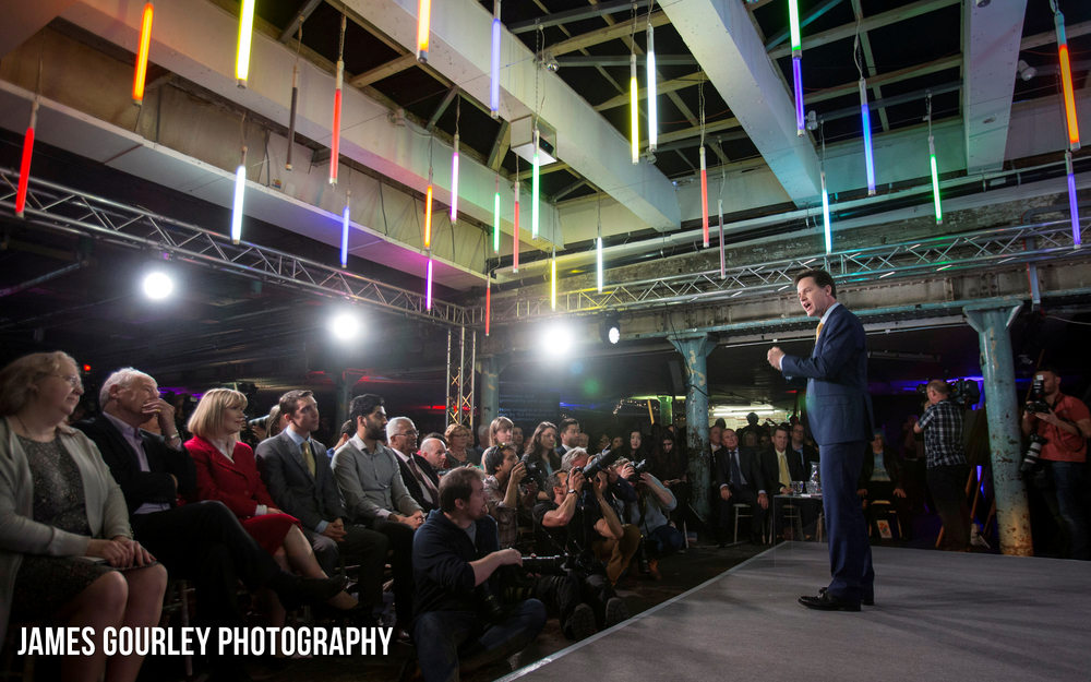 15/04/2015. Battersea, UK. The Deputy Prime Minister and Leader of the Liberal Democrats Nick Clegg launched the Liberal Democrats Manifesto in Testbed 1 in Battersea today. Photo by James Gourley/Liberal Democrats