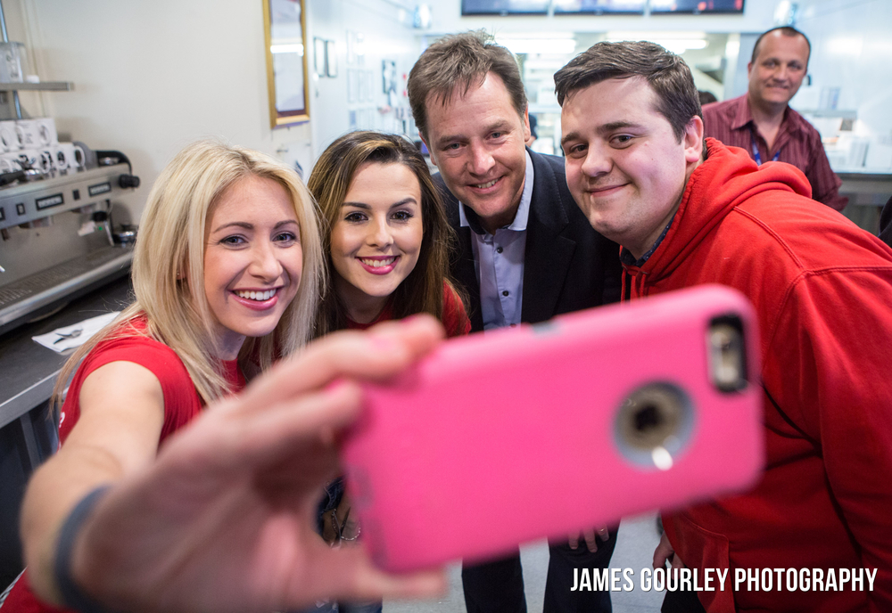The Deputy Prime Minister and Leader of the Liberal Democrats Nick Clegg in Hazel Grove with Lisa Smart and Andrew Stunnell. Photo by James Gourley/Liberal Democrats