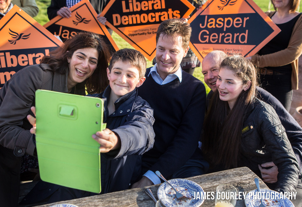 The Deputy Prime Minister and Leader of the Liberal Democrats Nick Clegg takes a selfie with the family of Lib Dem PPC for Maidstone and the Weald, Jasper Gerard (second left), his wife Diana and two children, Freddie and Emilia