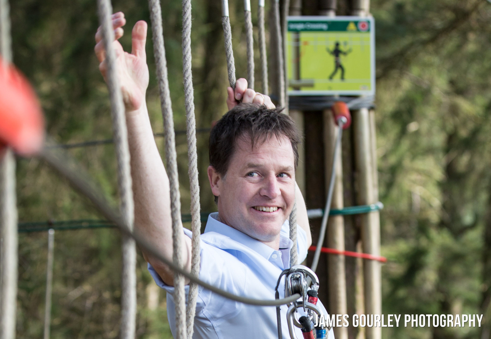 08/04/2015. Chippenham, UK. The Deputy Prime Minister and Leader of the Liberal Democrats Nick Clegg at Go Ape Haldon Park. Photo by James Gourley/Liberal Democrats