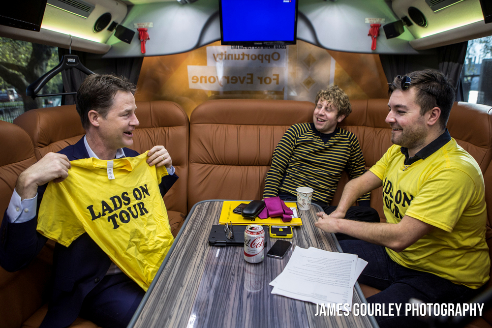 --EMBARGOED UNTIL 23/04/2015 @ 2200---The Deputy Prime Minister and Leader of the Liberal Democrats Nick Clegg pictured on the Lib Dem battle bus with Josh Widdicombe (centre) and Alex Brooker (right) filming for the Channel 4 show 'The Last Leg'.