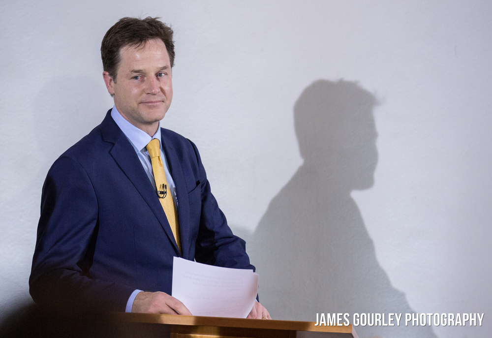 Nick Clegg resigned as Leader of the Liberal Democrats the morning with a speech at the ICA in London after his party suffered huge losses in the General Election last night (07/05)