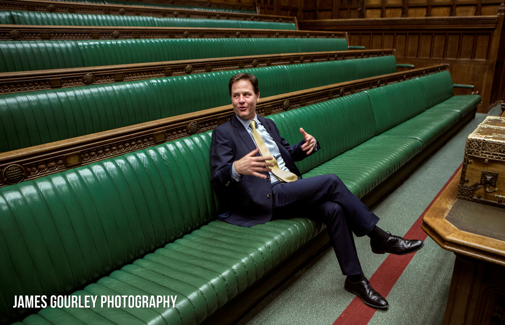 Westminster, UK. Deputy Prime Minister and Leader of the Liberal Democrats Nick Clegg posing in the House of Commons.  Photo by James Gourley/Liberal Democrats