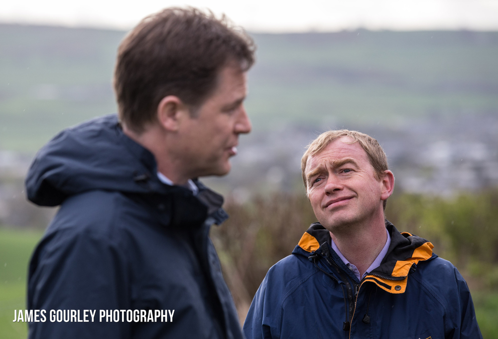 The Deputy Prime Minister and Leader of the Liberal Democrats Nick Clegg in Westmoreland, with the Lib Dem PPC for Westmoreland & Lonsdale Tim Farron (right)