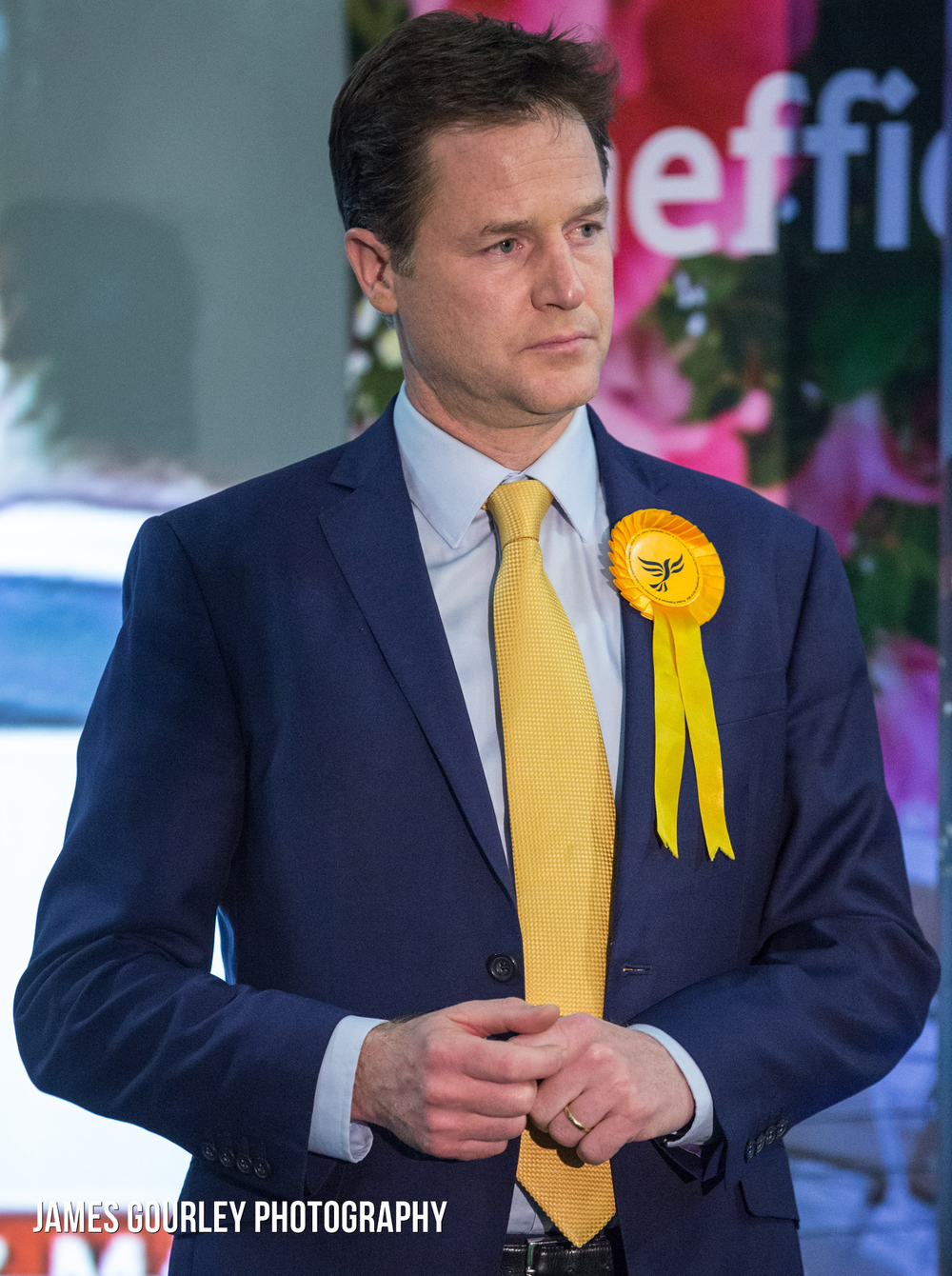 The Liberal Democrat Leader Nick Clegg at the declaration of the Sheffield Hallam constituency. Clegg won the seat with a 4% lead over Oliver Coppard of Labour