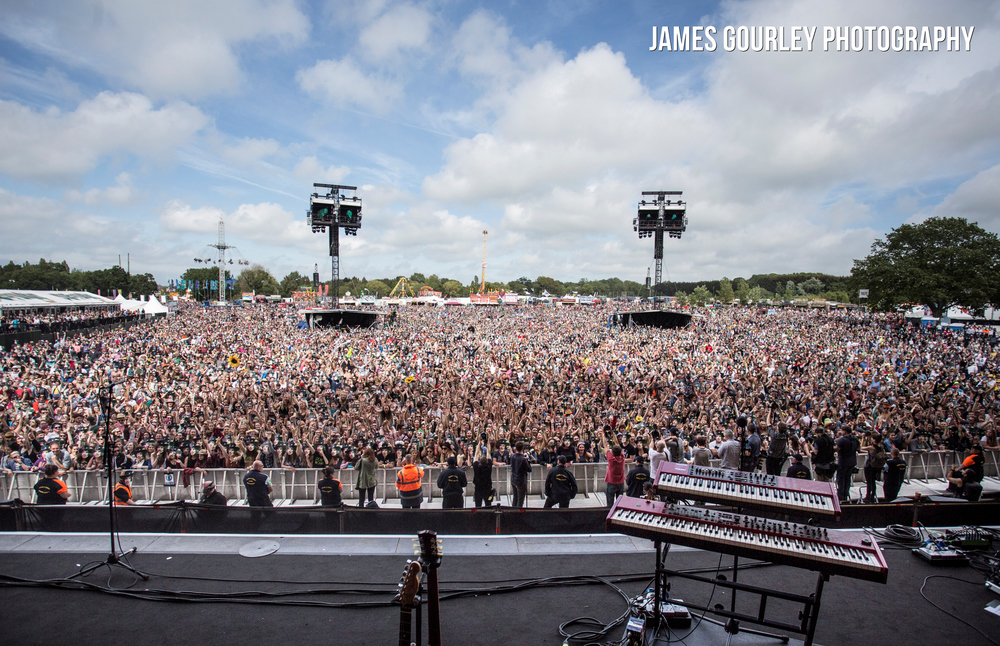 A general view of the crowd in front of the Main Stage at the Isle of Wight Festival 2015