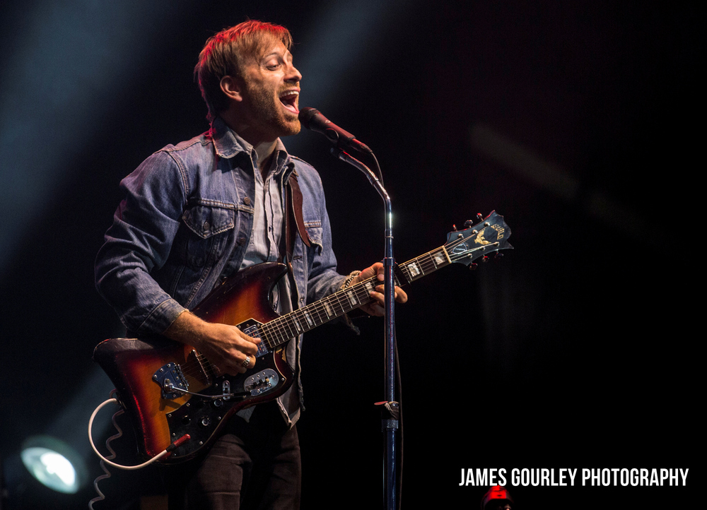Dan Auerbach, lead singer of The Black Keys performing on the Main Stage at the Isle of Wight Festival 2015.