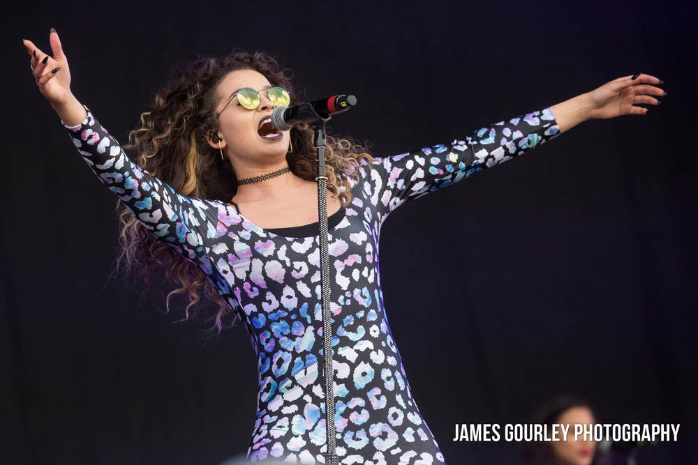 Ella Eyre performing on the Main Stage at the Isle of Wight Festival 2015