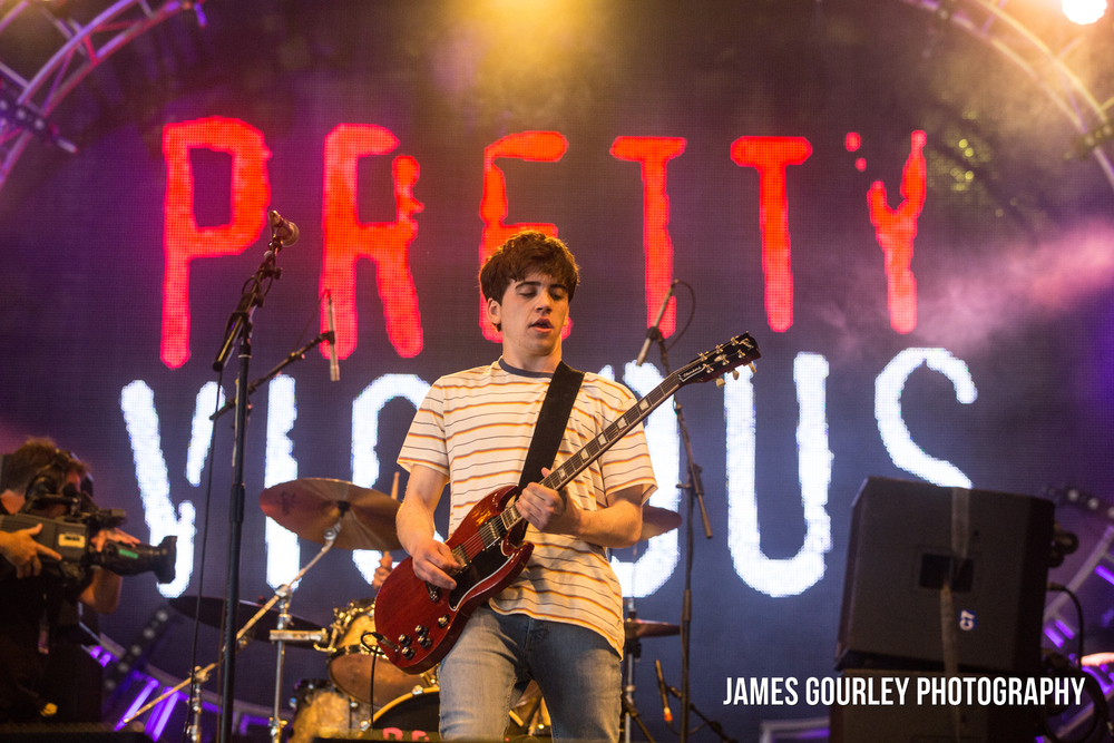 Brad Griffiths, lead vocals of Pretty Vicious performing on the BT Big Top Stage at the Isle of Wight Festival 2015