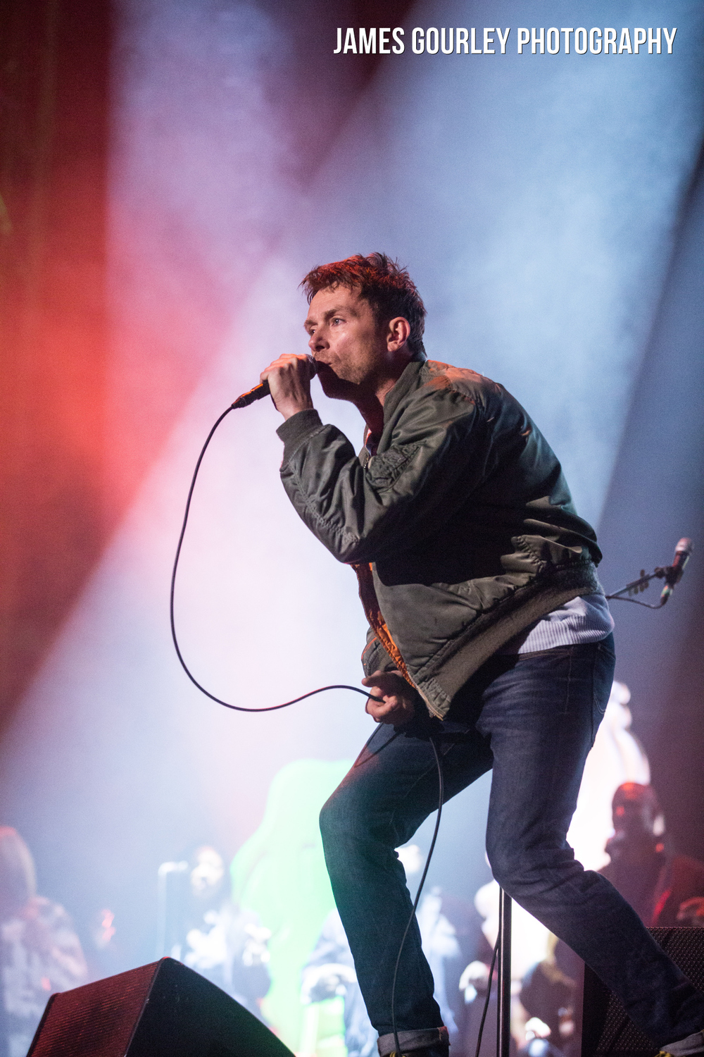 Damon Albarn of Blur performing on the Main Stage at the Isle of Wight Festival 2015