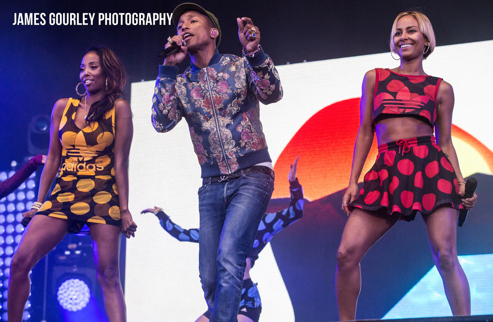 Pharrell Williams performing on the Main Stage at the Isle of Wight Festival 2015