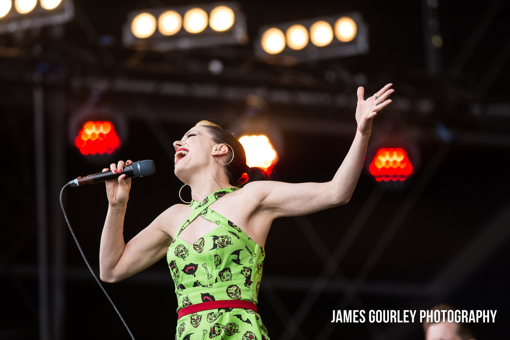 Imelda May performing on the Main Stage at the Isle of Wight Festival 2015