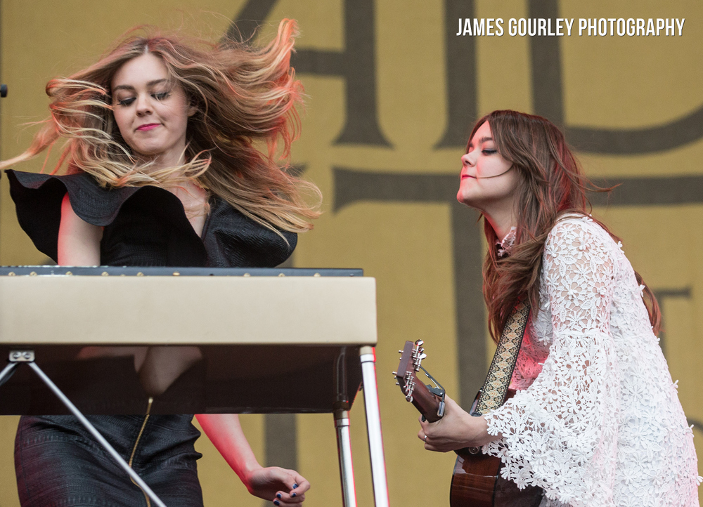 First Aid Kit performing on the Main Stage at the Isle of Wight Festival 2015