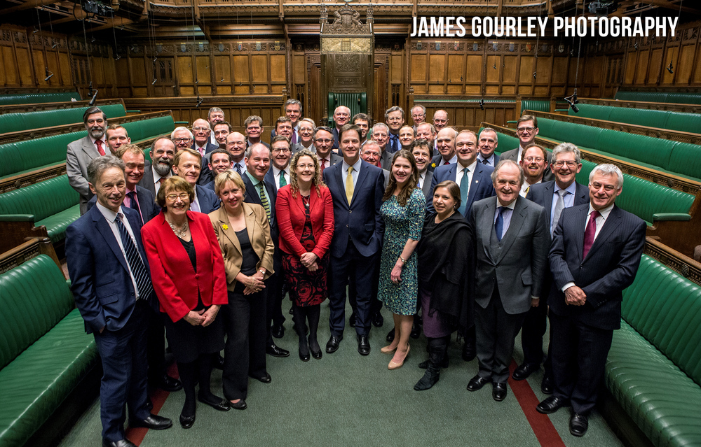 Westminster, UK. A group photo of Liberal Democrat MPs in the House of Commons.  Photo by James Gourley/Liberal Democrats