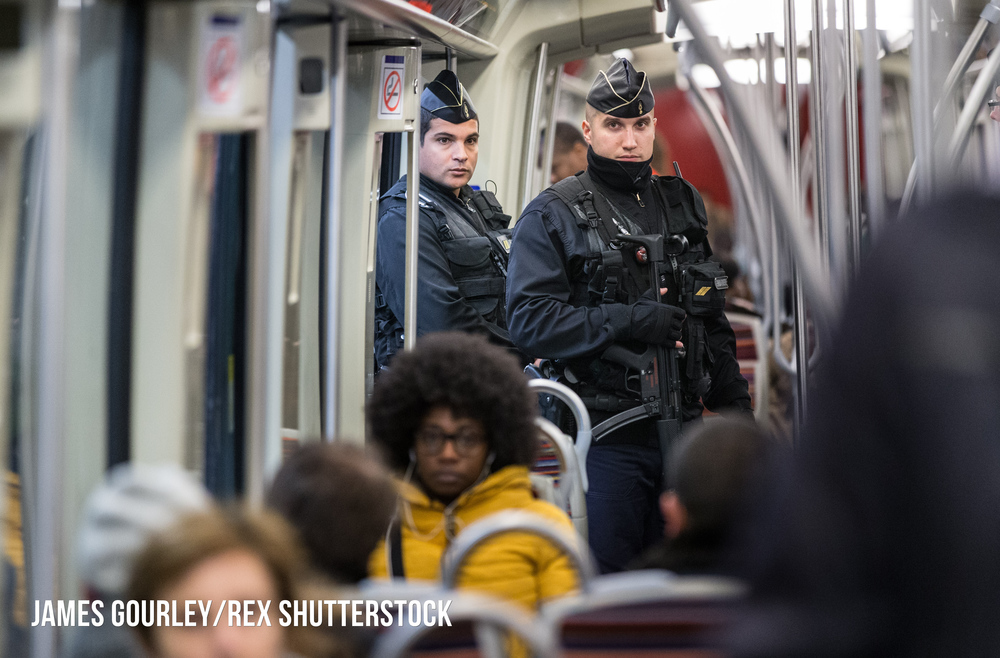 Armed police officers on the Paris Metro