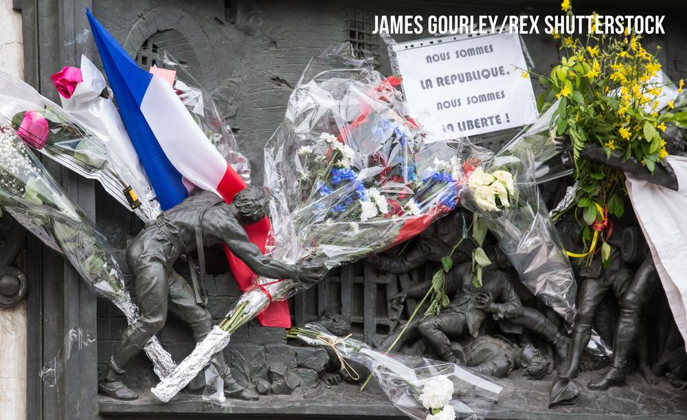 Mourners at Place de la République
