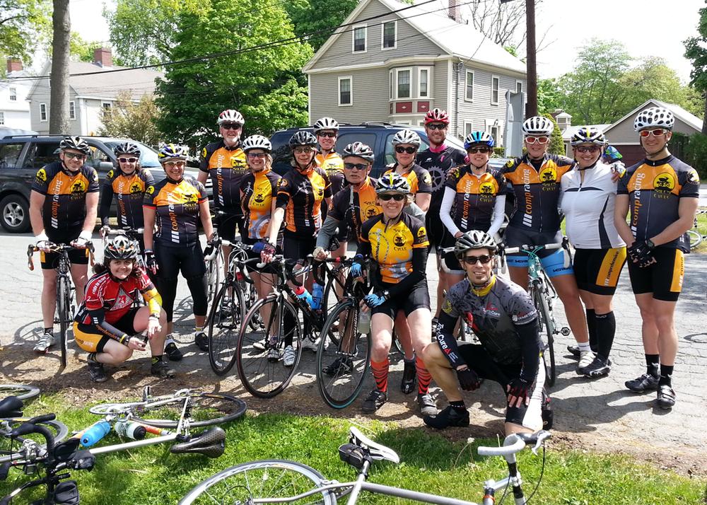 Jen and Jen's Comprehensive Racing Teammates riding the 2013 North Shore Tour de Cure