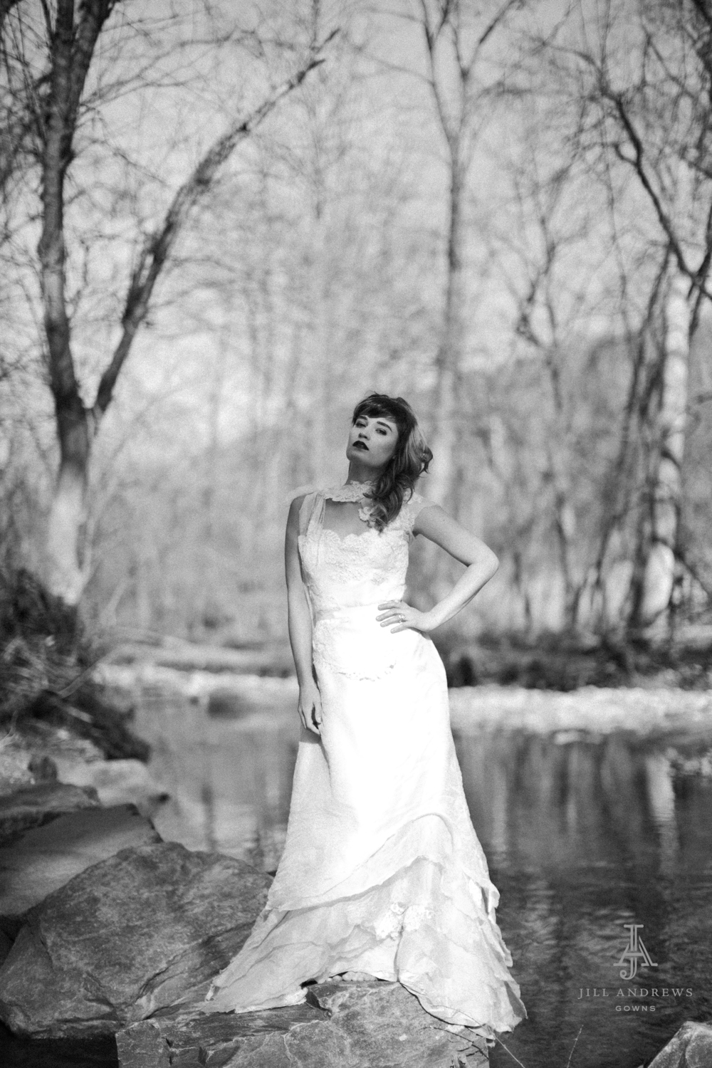 Bride in custom bridal separates