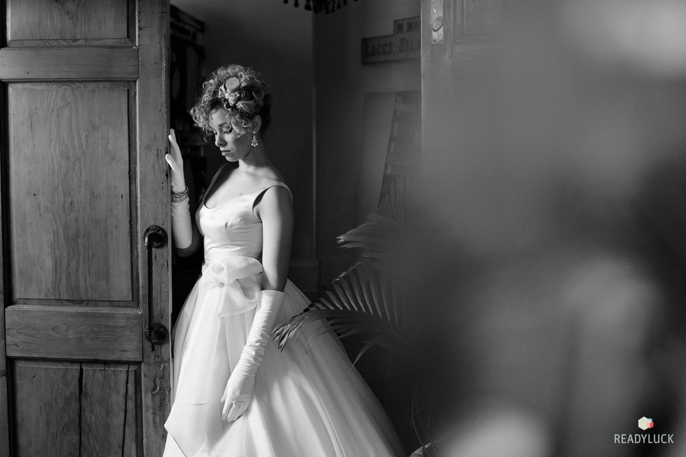 Bride in ballgown and strapless top from our collection