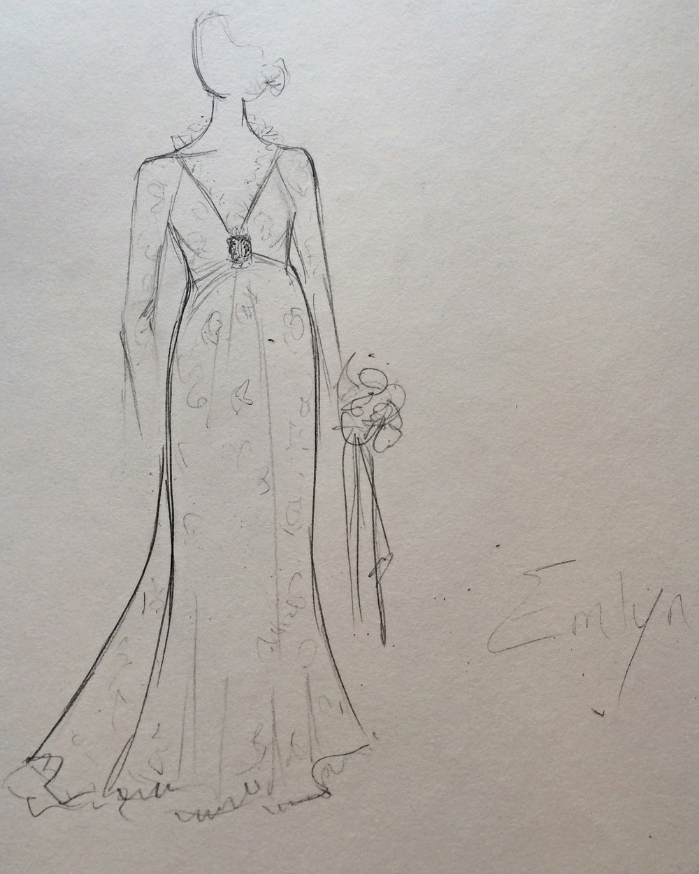 Wedding Gown Sketch Baltimore Bridal Salon