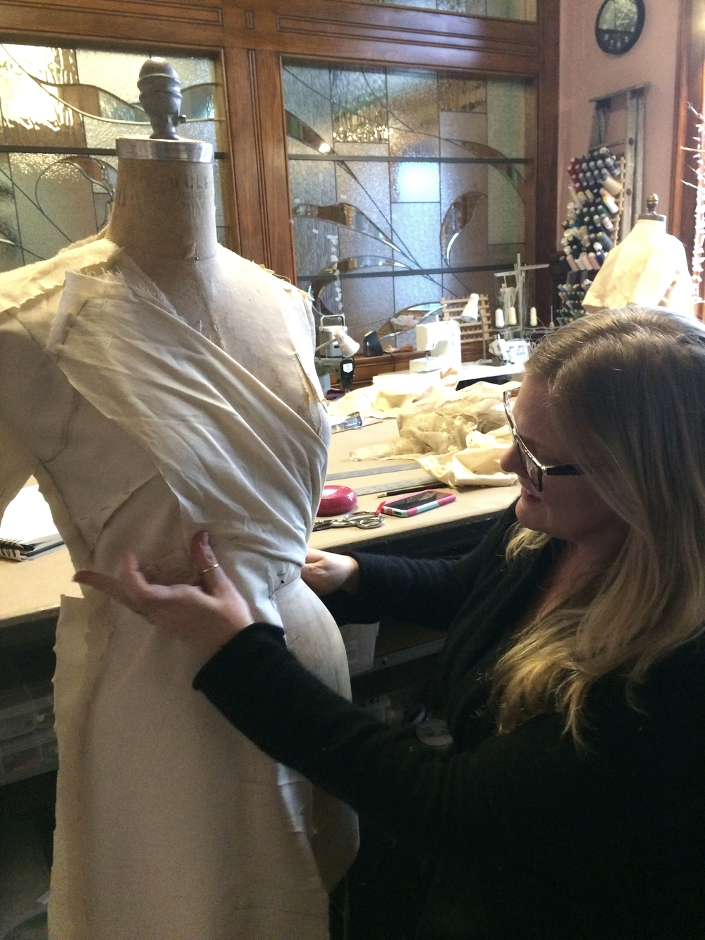 Draping a wedding dress