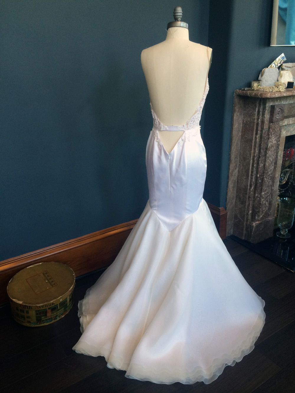 The back of Krysta's wedding gown – flattering cut out and a mermaid tail that would make Ariel jealous!