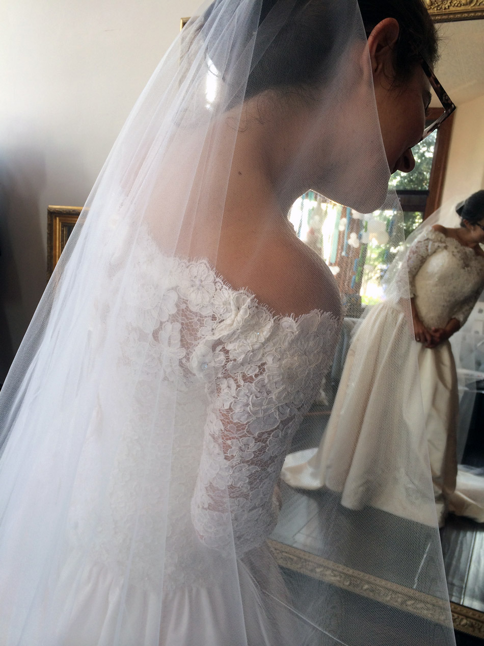 The shoulder detail on Barbara's wedding gown is ever so lovely, don't you think?