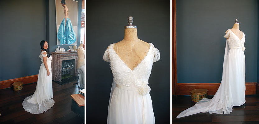 "The lace used on Maria's bodice is called ""Angel,"" and we can see why!"