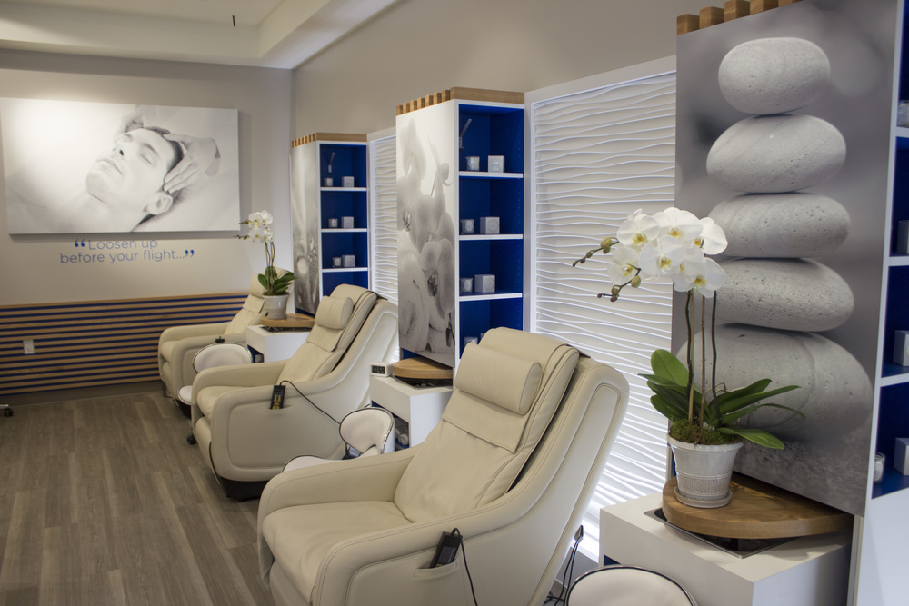 Relaxation stations at Be Relax in JetBlue's T5.