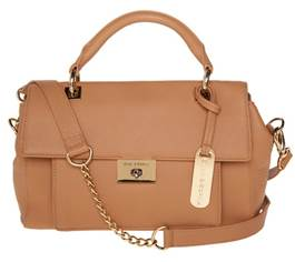 Emma & Sophia Leather Flap Front Satchel with Turn Lock Closure QVC Item #S7503 Special Super Saturday LIVE Price: Approximately $99.50