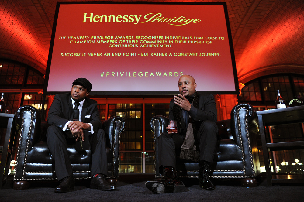The evening's host Sway Calloway and award recipient Daymond John discuss John's rise to success at The Hennessy Privilège Awards.